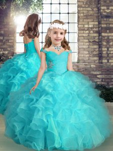Sleeveless Organza High Low Lace Up Pageant Gowns For Girls in Aqua Blue with Beading and Ruffles