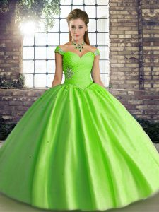 Elegant Off The Shoulder Neckline Beading Ball Gown Prom Dress Sleeveless Lace Up