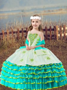 Glorious Aqua Blue Straps Lace Up Beading and Embroidery and Ruffled Layers Little Girls Pageant Dress Sleeveless