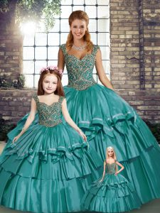 Teal Straps Lace Up Beading and Ruffled Layers Sweet 16 Dress Sleeveless