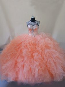 Peach Sleeveless Court Train Beading and Ruffles 15 Quinceanera Dress
