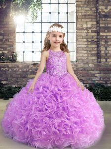 Lilac Ball Gowns Scoop Sleeveless Fabric With Rolling Flowers Floor Length Lace Up Beading Pageant Gowns For Girls