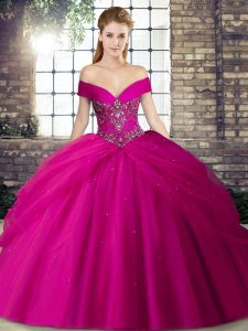 Ideal Fuchsia Quinceanera Dress Military Ball and Sweet 16 and Quinceanera with Beading and Pick Ups Off The Shoulder Sleeveless Brush Train Lace Up