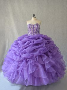 Floor Length Lavender 15th Birthday Dress Sleeveless Beading and Ruffles and Pick Ups