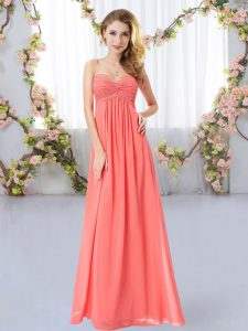 Glittering Sleeveless Floor Length Ruching Zipper Court Dresses for Sweet 16 with Watermelon Red