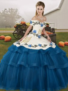 Clearance Blue Ball Gowns Embroidery and Ruffled Layers Quinceanera Gown Lace Up Tulle Sleeveless