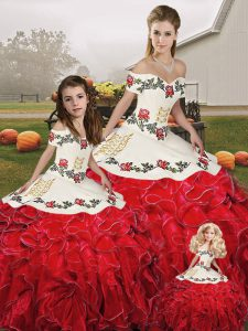 Sexy White And Red Organza Lace Up Sweet 16 Dress Sleeveless Floor Length Embroidery and Ruffles