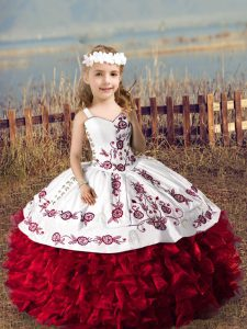 Nice Floor Length Ball Gowns Sleeveless Wine Red Little Girls Pageant Gowns Lace Up