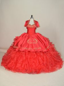 Luxury Sweetheart Sleeveless Satin and Organza Vestidos de Quinceanera Embroidery and Ruffles Brush Train Lace Up