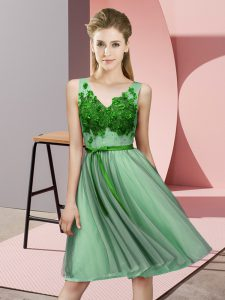 V-neck Sleeveless Tulle Vestidos de Damas Appliques Lace Up