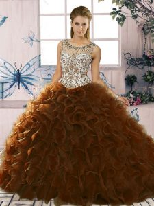 Brown Quinceanera Gowns Military Ball and Sweet 16 and Quinceanera with Beading and Ruffles Scoop Sleeveless Lace Up