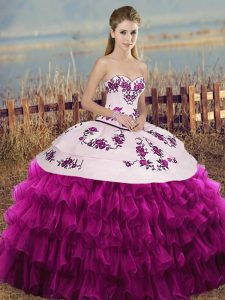 Floor Length Lace Up Sweet 16 Dress Fuchsia for Military Ball and Sweet 16 and Quinceanera with Embroidery and Ruffled Layers and Bowknot