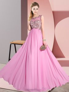 Chic Sleeveless Chiffon Floor Length Backless Vestidos de Damas in Rose Pink with Beading and Appliques