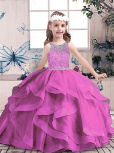 Floor Length Ball Gowns Sleeveless Lilac Pageant Dress for Teens Lace Up