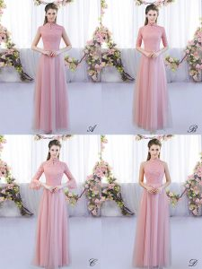 Discount High-neck Cap Sleeves Zipper Dama Dress Pink Tulle