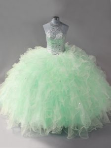 Halter Top Sleeveless Lace Up Sweet 16 Quinceanera Dress Apple Green Tulle