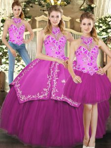 Fuchsia 15 Quinceanera Dress Military Ball and Sweet 16 and Quinceanera with Embroidery Halter Top Sleeveless Lace Up