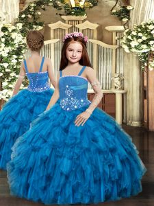 Excellent Blue Tulle Lace Up Straps Sleeveless Floor Length Little Girls Pageant Dress Wholesale Beading