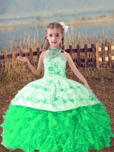 Most Popular Floor Length Lace Up Kids Pageant Dress Green for Wedding Party with Beading and Embroidery and Ruffles