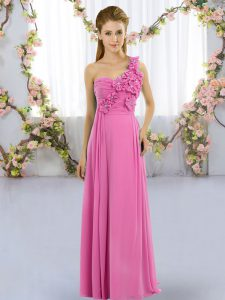 Smart Floor Length Lace Up Damas Dress Rose Pink for Wedding Party with Hand Made Flower