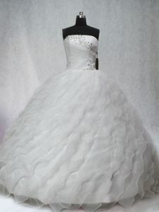Brush Train Ball Gowns 15 Quinceanera Dress White Strapless Organza Sleeveless Lace Up