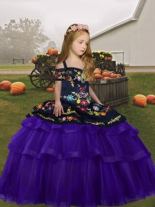 Purple Lace Up Little Girl Pageant Gowns Embroidery and Ruffles Sleeveless Floor Length