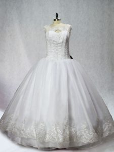 Hot Sale Floor Length White Quince Ball Gowns Organza Sleeveless Beading and Appliques