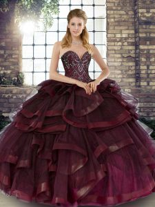 Sweetheart Sleeveless Lace Up Quinceanera Dress Burgundy Tulle