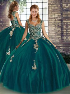 Sumptuous Peacock Green Quinceanera Gowns Military Ball and Sweet 16 and Quinceanera with Beading and Appliques Straps Sleeveless Lace Up