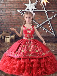 Stylish Floor Length Lace Up Child Pageant Dress Red for Wedding Party with Embroidery and Ruffled Layers