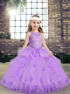 Modern Lavender Lace Up Kids Formal Wear Lace and Appliques Sleeveless Floor Length