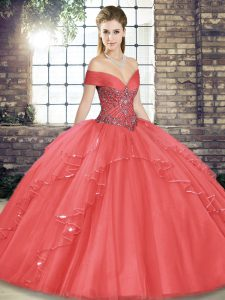 Watermelon Red Lace Up Off The Shoulder Beading and Ruffles Vestidos de Quinceanera Tulle Sleeveless