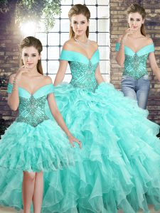 Lovely Sleeveless Brush Train Lace Up Beading and Ruffles Sweet 16 Dresses