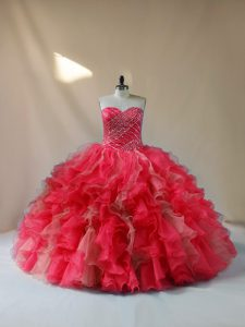 Trendy Sweetheart Sleeveless Lace Up Vestidos de Quinceanera Multi-color Organza