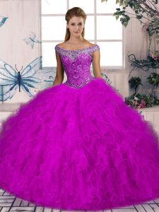 High End Sleeveless Tulle Brush Train Lace Up Quinceanera Dress in Fuchsia with Beading and Ruffles