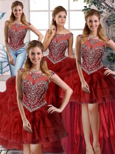 Wine Red Scoop Zipper Beading and Pick Ups Quinceanera Gowns Brush Train Sleeveless