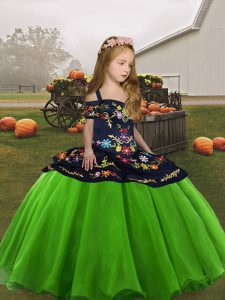 Lace Up Straps Embroidery Little Girls Pageant Dress Wholesale Organza Sleeveless