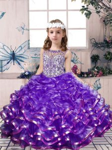 Lavender Sleeveless Organza Lace Up Pageant Dress for Teens for Party and Wedding Party