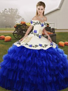 Shining Royal Blue Organza Lace Up Ball Gown Prom Dress Sleeveless Floor Length Embroidery and Ruffled Layers