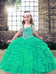Beading Pageant Dress for Teens Turquoise Lace Up Sleeveless Floor Length