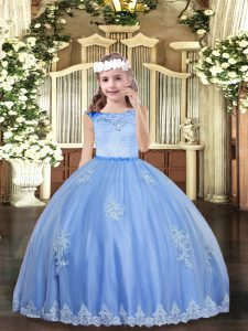 Floor Length Baby Blue Little Girls Pageant Dress Wholesale Tulle Sleeveless Beading and Appliques