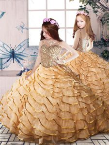 Enchanting Sleeveless Beading and Ruffled Layers Lace Up Girls Pageant Dresses with Gold Court Train