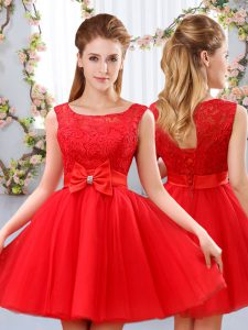 Chic Scoop Sleeveless Lace Up Vestidos de Damas Red Tulle