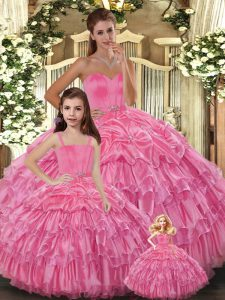 Ruffled Layers Vestidos de Quinceanera Rose Pink Lace Up Sleeveless Floor Length