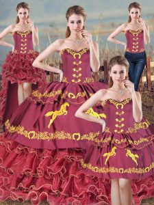 Exquisite Burgundy Sleeveless Brush Train Embroidery and Ruffles 15th Birthday Dress