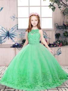 Amazing Green Backless Scoop Lace and Appliques Little Girl Pageant Dress Tulle Sleeveless
