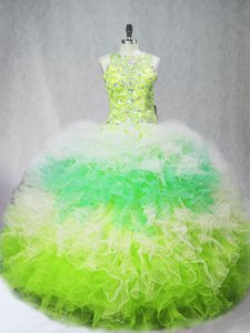 Fantastic Floor Length Multi-color Quinceanera Dress Tulle Sleeveless Beading and Ruffles