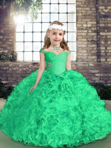 Eye-catching Straps Sleeveless Little Girl Pageant Gowns Floor Length Beading and Ruffles Green Fabric With Rolling Flowers