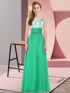 Romantic Floor Length Backless Damas Dress Turquoise for Wedding Party with Appliques