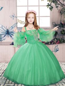 Custom Fit Green Tulle Lace Up Little Girls Pageant Gowns Sleeveless Floor Length Beading